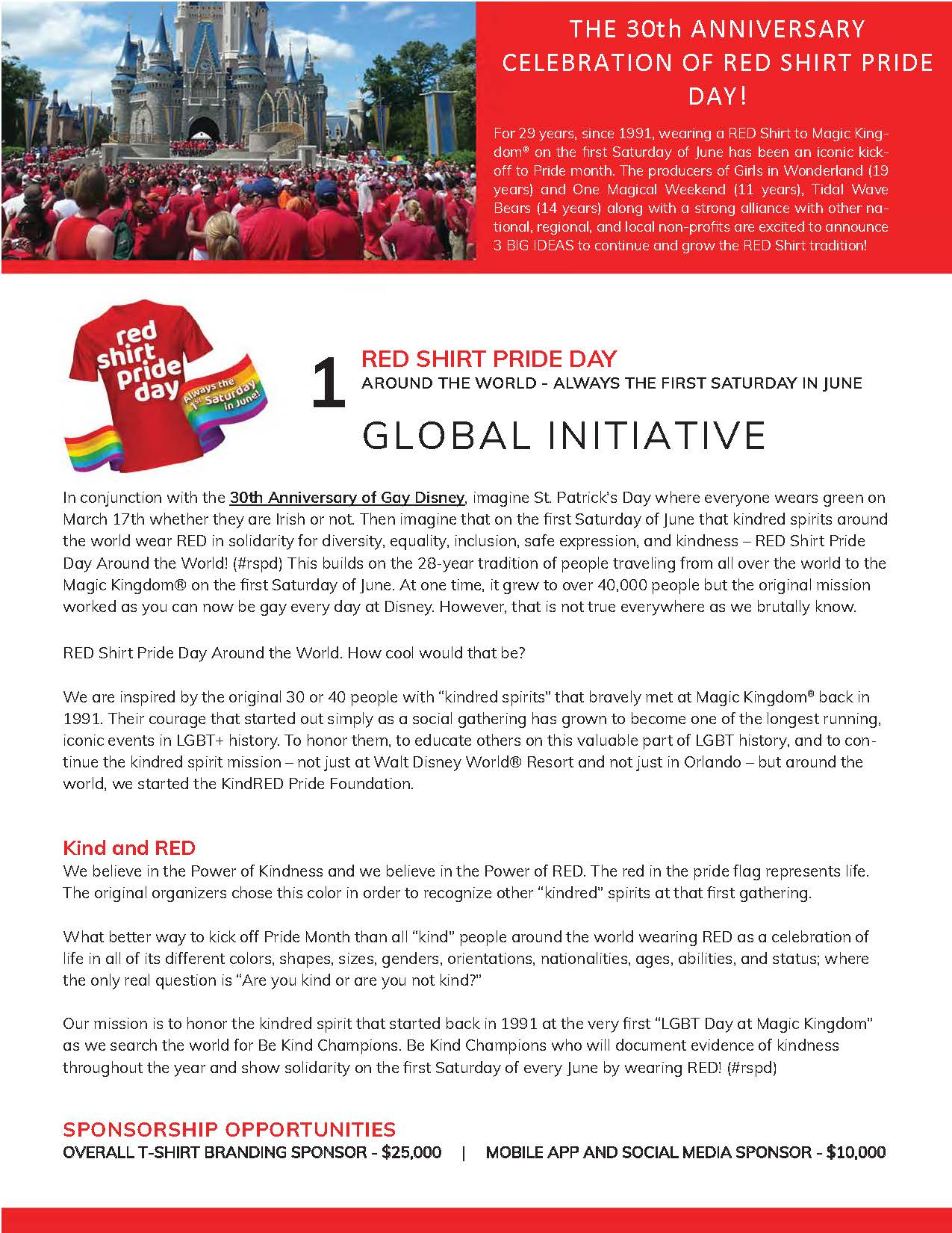 outloud enterprises One Magical Weekend - RED Shirt Pride Days #rspd